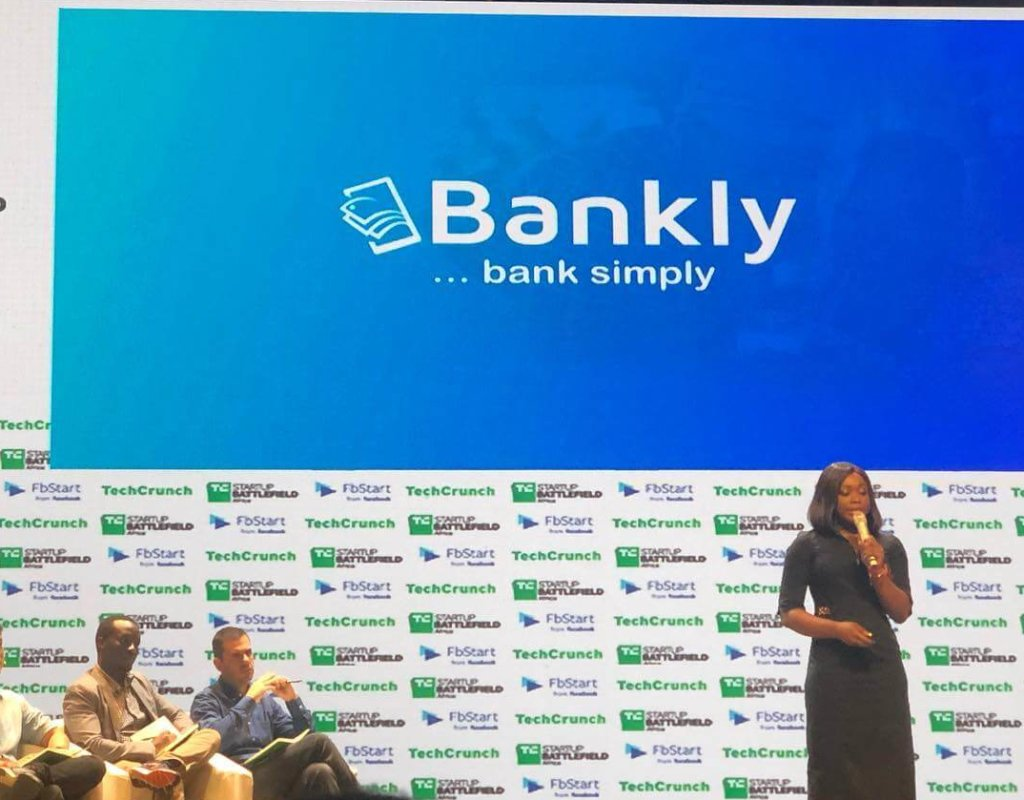Bankly CEO Tomilola Adejana presenting at TechCrunch Battlefield Africa in December 2018.
