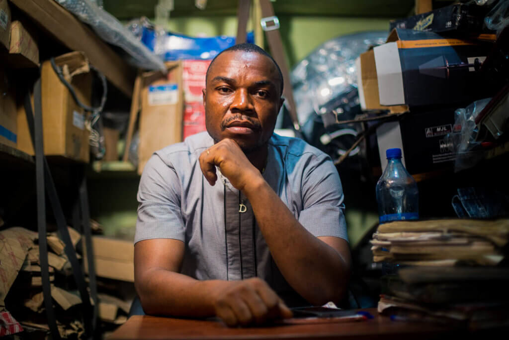 Entrepreneur Ezeh inside his shop