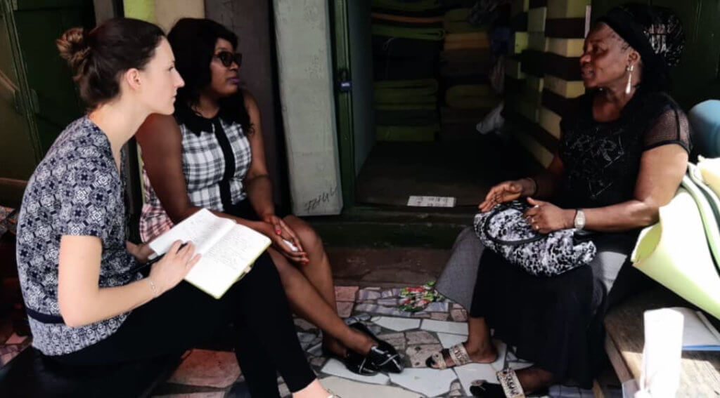 Emma meeting with Accion Microfinance Bank clients and staff in Nigeria