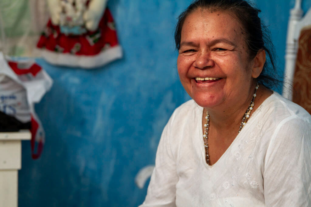 Margarita in her florist shop in Colombia