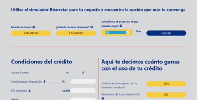 Bienestar's credit simulator tool