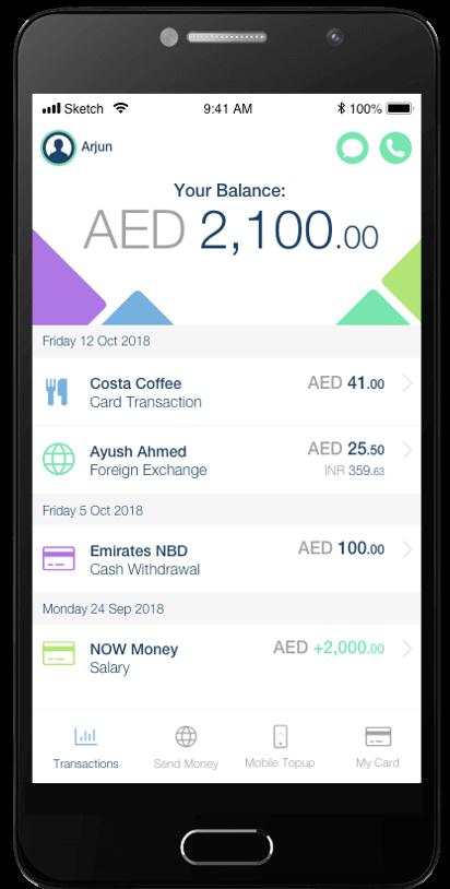 A screenshot of the NOW Money app