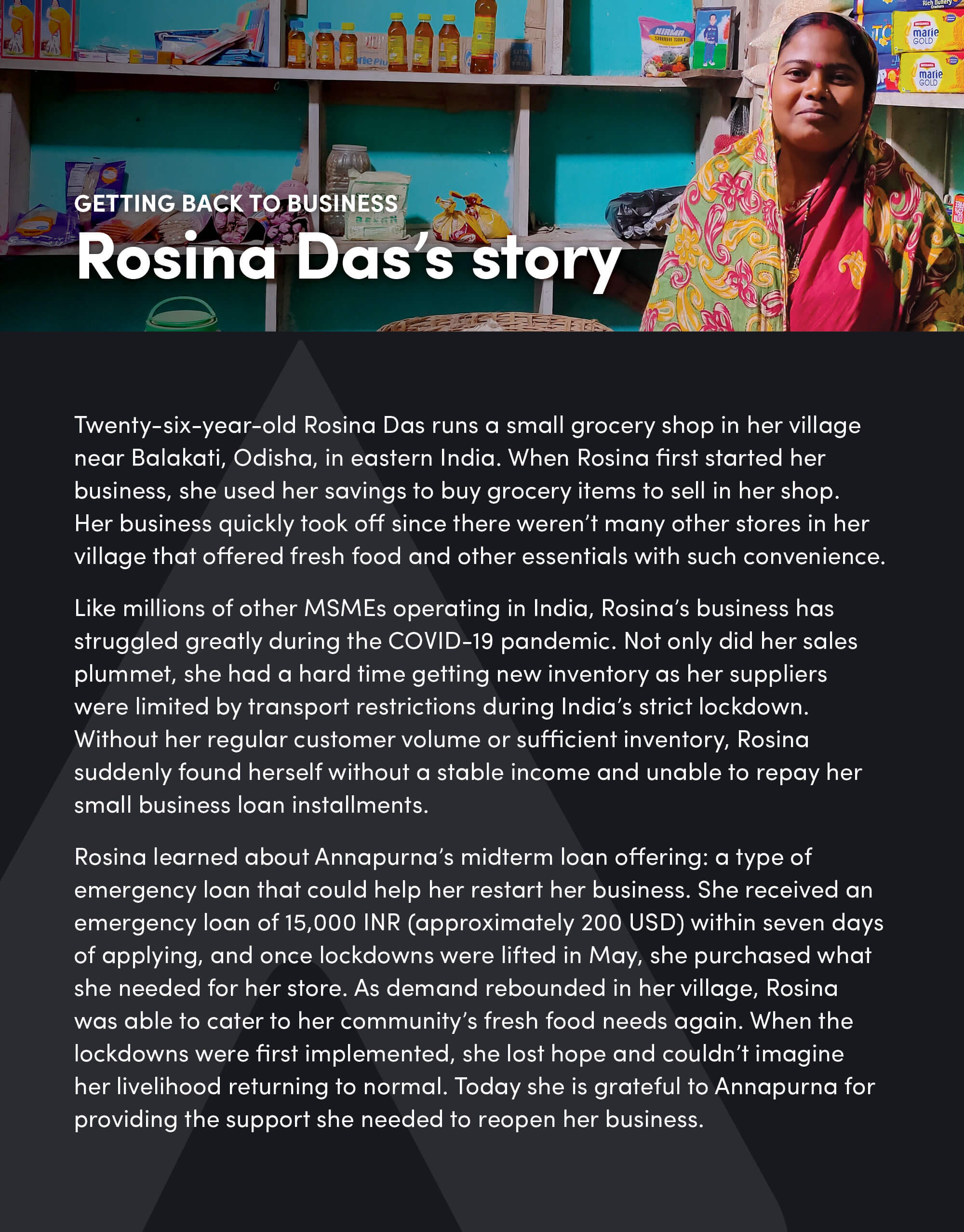 Getting back to business: Rosina Das's story
