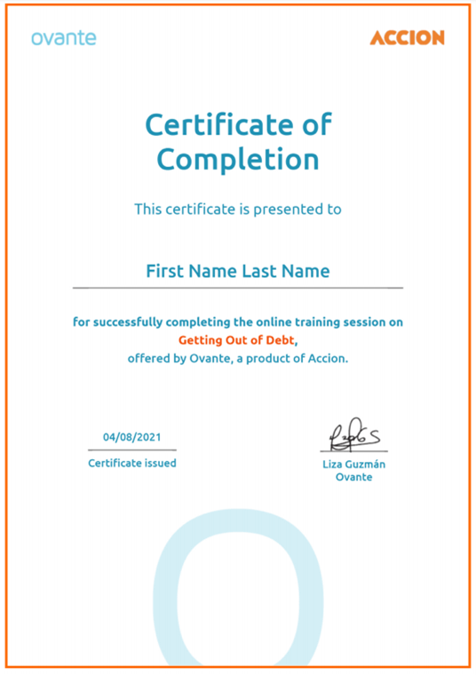 Ovante certification of completion