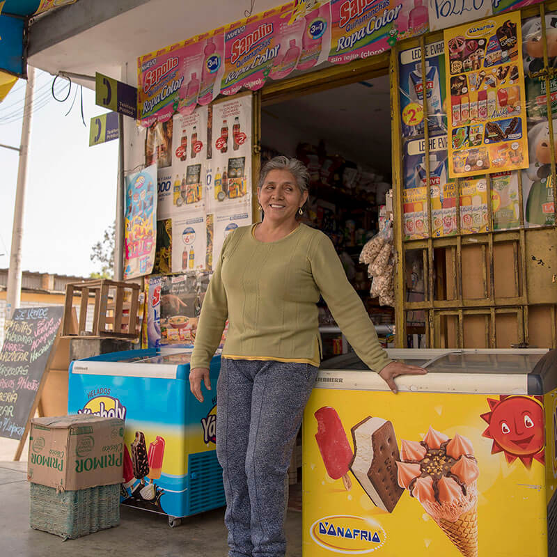 Maria Ramos at her store in Peru